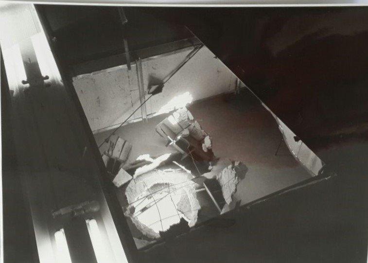 Shelling hole in Leyada's School ceiling, 1967